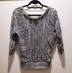 Poof! Black & White Knit 3/4 Sleeve Sweater